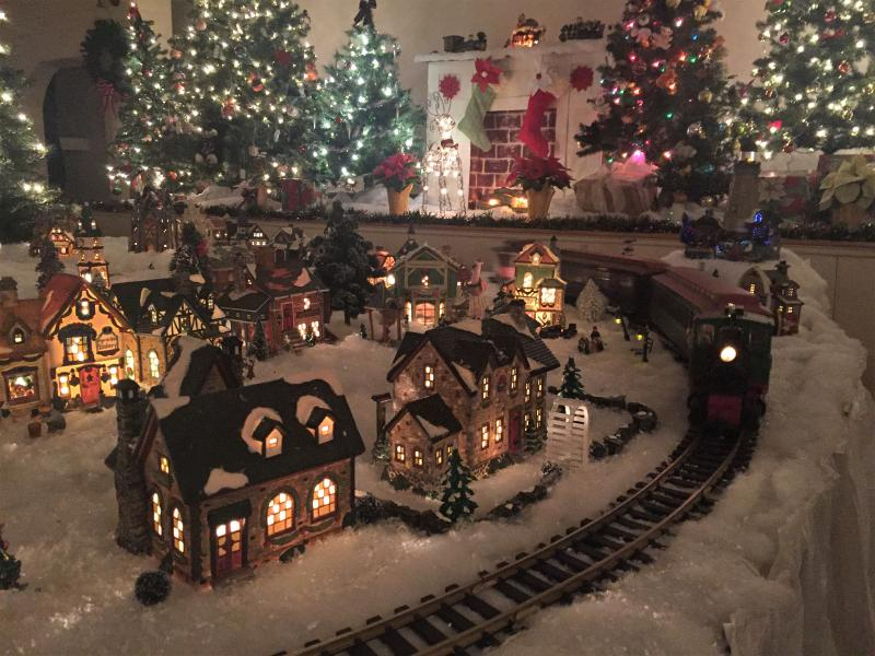 the charming christmas village and train set up in the 1847 town hall at boothbay railway village see it on the new year train dec 30