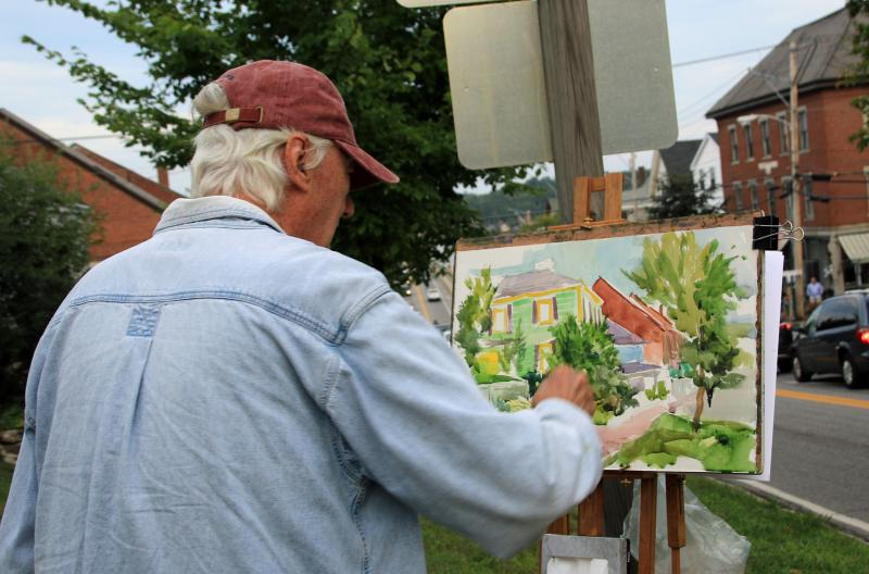 Artists paint live during this month's Wiscasset Art Walk