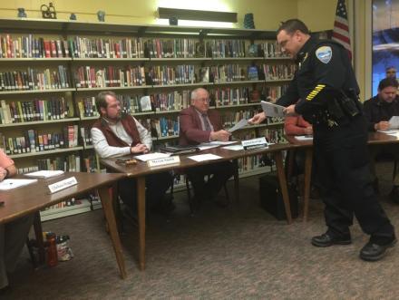 Wiscasset Police Chief Troy Cline, Interim Superintendent of Schools Lyford Beverage