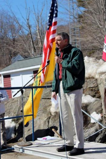 Former State Representative Les Fossel addresses approximately 200 people Saturday, March 9 at a rally protesting legislation on concealed weapon permits. Courtesy of Jessica Beckwith