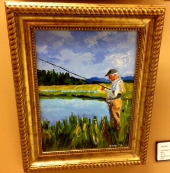 "John Moon ""Old Man Fishing on the Pond"