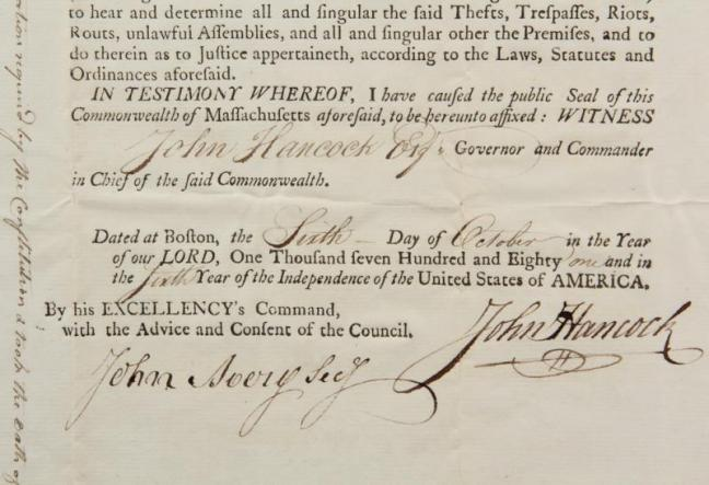 These documents appointing Edgecomb's Moses Davis a justice of the peace in Lincoln County in 1775 and 1781 will be up for auction June 1  and 2 in Thomaston. Courtesy of Thomaston Place Auction Galleries.