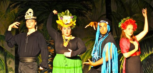 "The gods of ""Once On This Island:"" Joel Biron (Papa Ge), Emily Moore (Asaka), Jeremiah Haley (Agwe) and Kristen Robinson (Erzulie). Courtesy of Susan Domeyer"