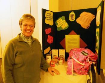 Feed Our Scholars representative Nancy Roby presents the backpack program to the Wiscasset Lions Club at its meeting Wednesday evening. CHARLOTTE BOYNTON/Wiscasset Newspaper
