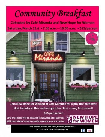 Cafe Miranda Breakfast New Hope for Women domestic violence event